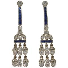 Diamond Sapphire Platinum Chandelier Earrings