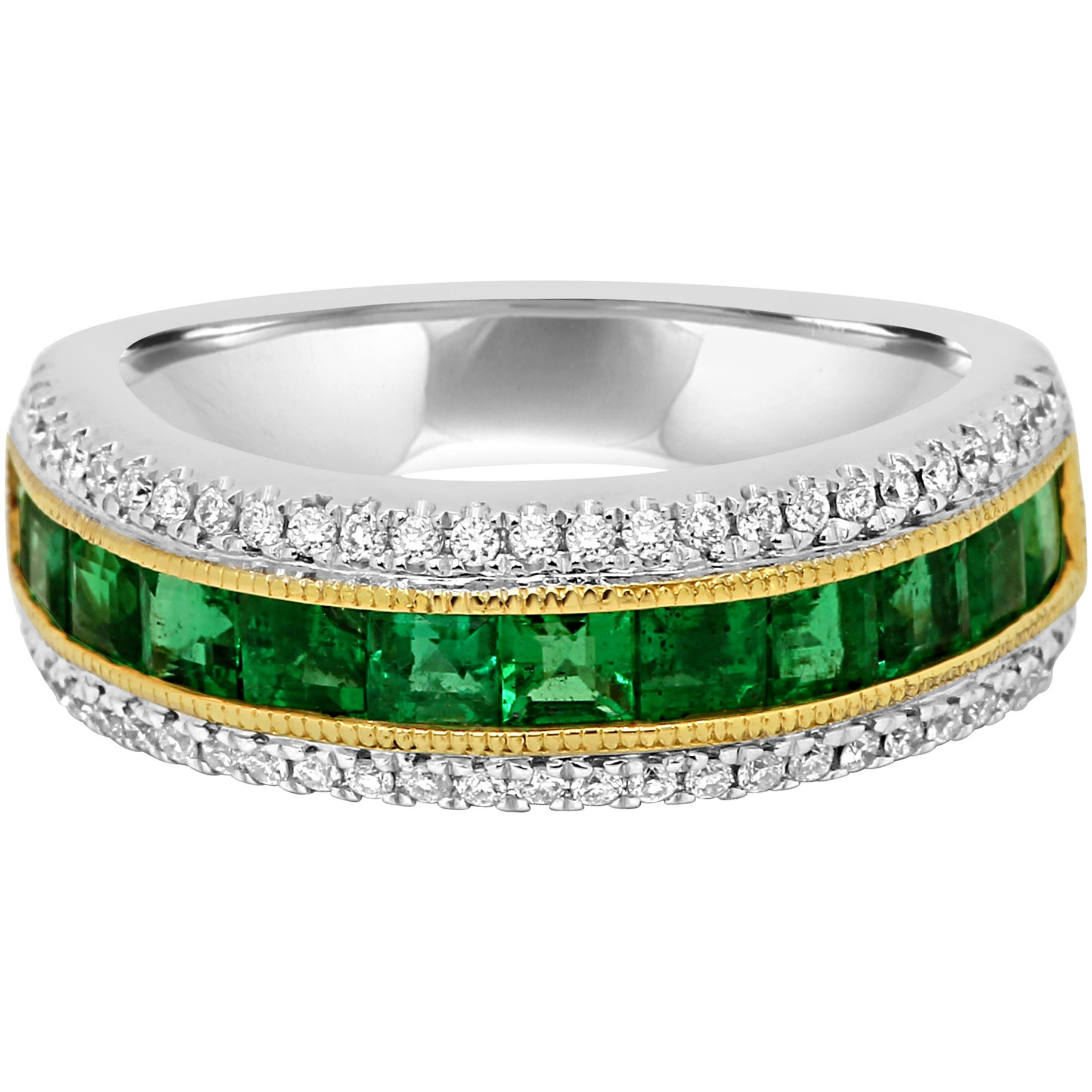 Emerald Diamond Three-Row Channel Set Two-Color Gold Fashion Cocktail Band Ring