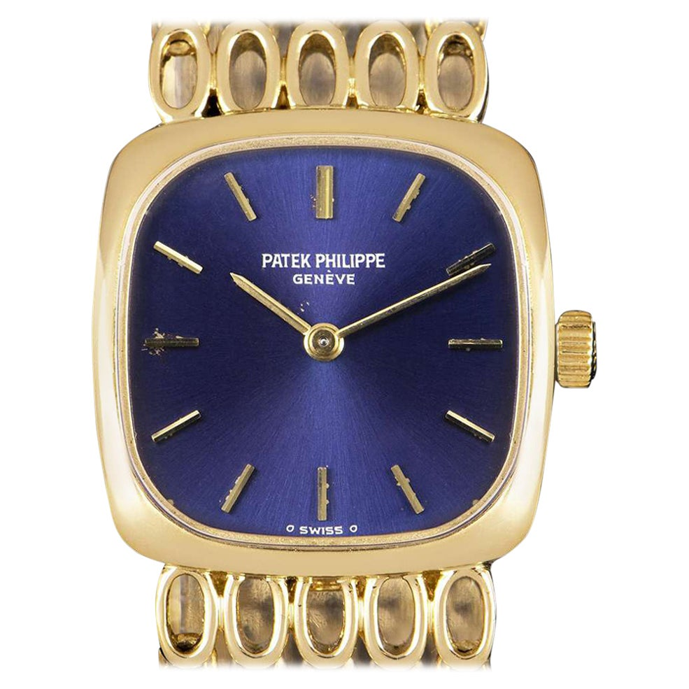 Vintage Patek Philippe Ellipse Yellow Gold Blue Dial 4179 Manual Wind Watch