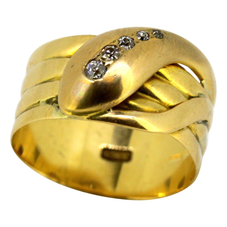 Vintage 18 Karat Yellow Gold Men's Snake Ring with Diamonds, 1950s
