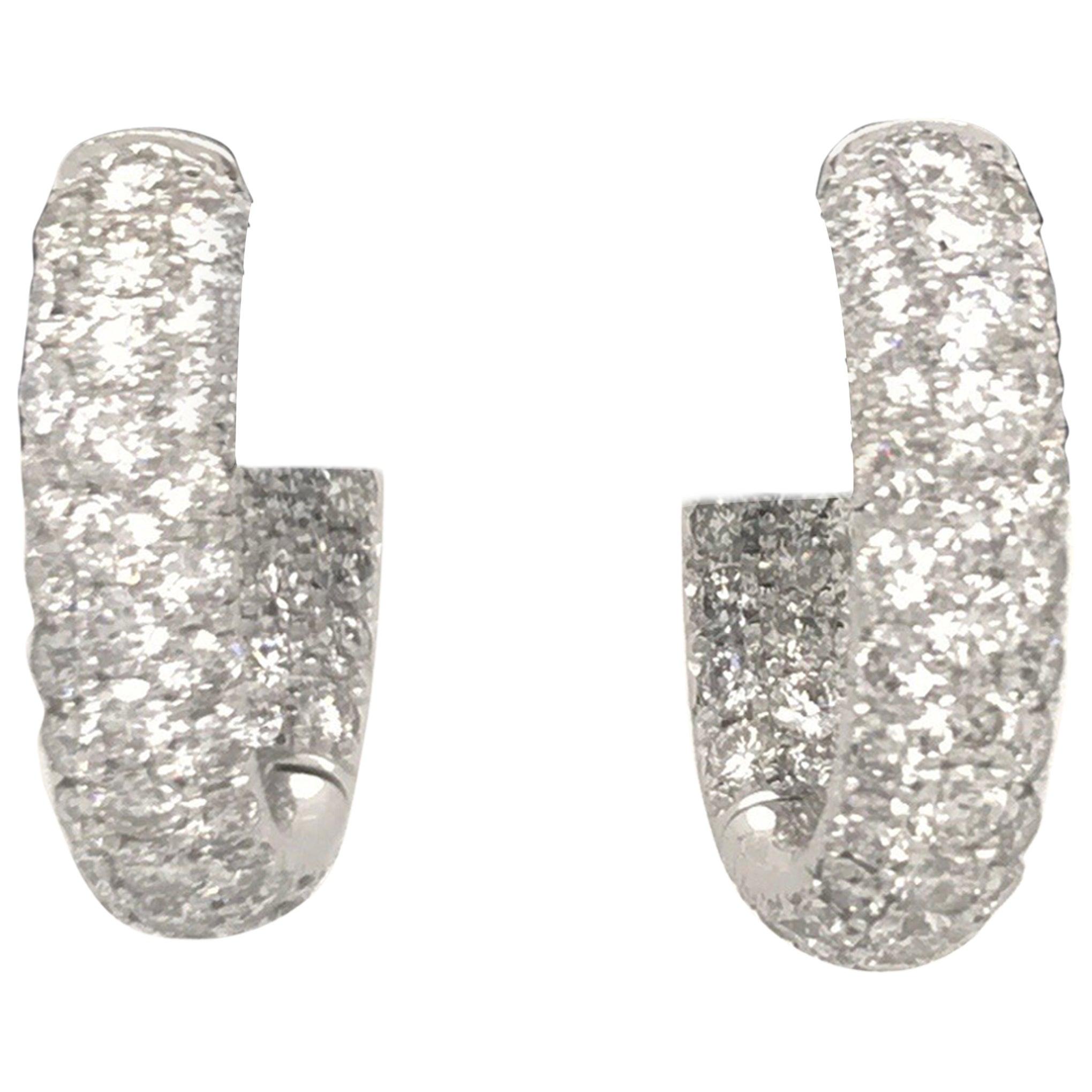 Diamond Hoop Earrings 2.95 Carat 18 Karat White Gold