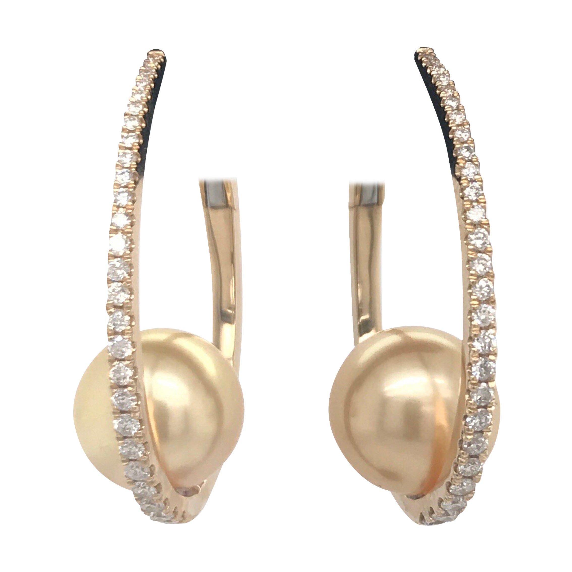Diamond South Sea Pearl Hoop Earrings 0.55 Carat 18 Karat