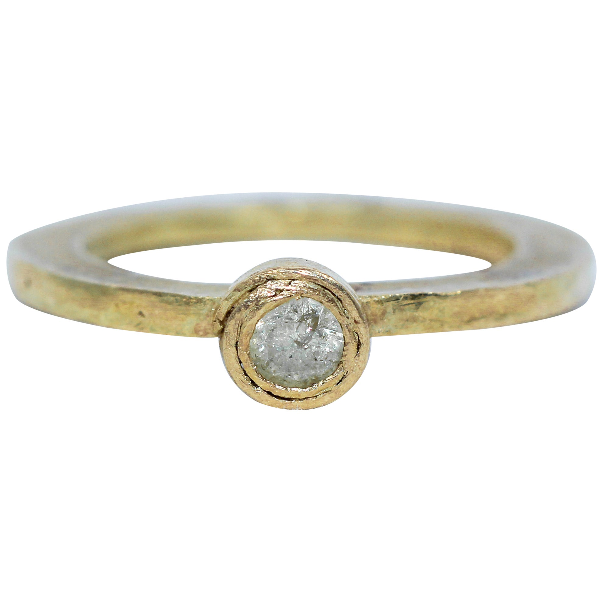 .22 Ct Yellow Diamond in Recycled 18K Gold Alternative Engagement Bridal Ring
