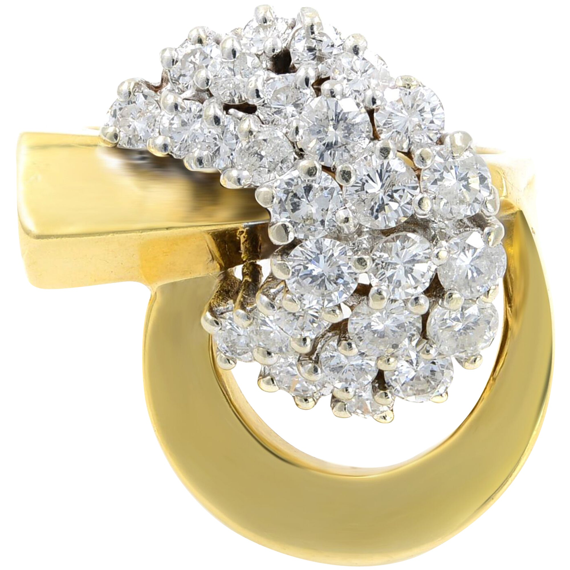 18 Karat Yellow Gold Diamond 1.65 Carat Ring