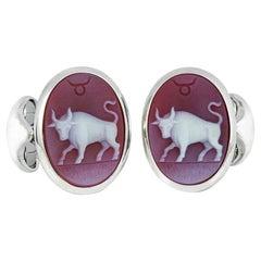 Four Deakin & Francis Sterling Silver Zodiac Cufflinks Taurus