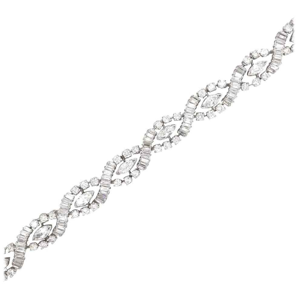 Diamond Swirl Marquise Bracelet 10 Carat Platinum