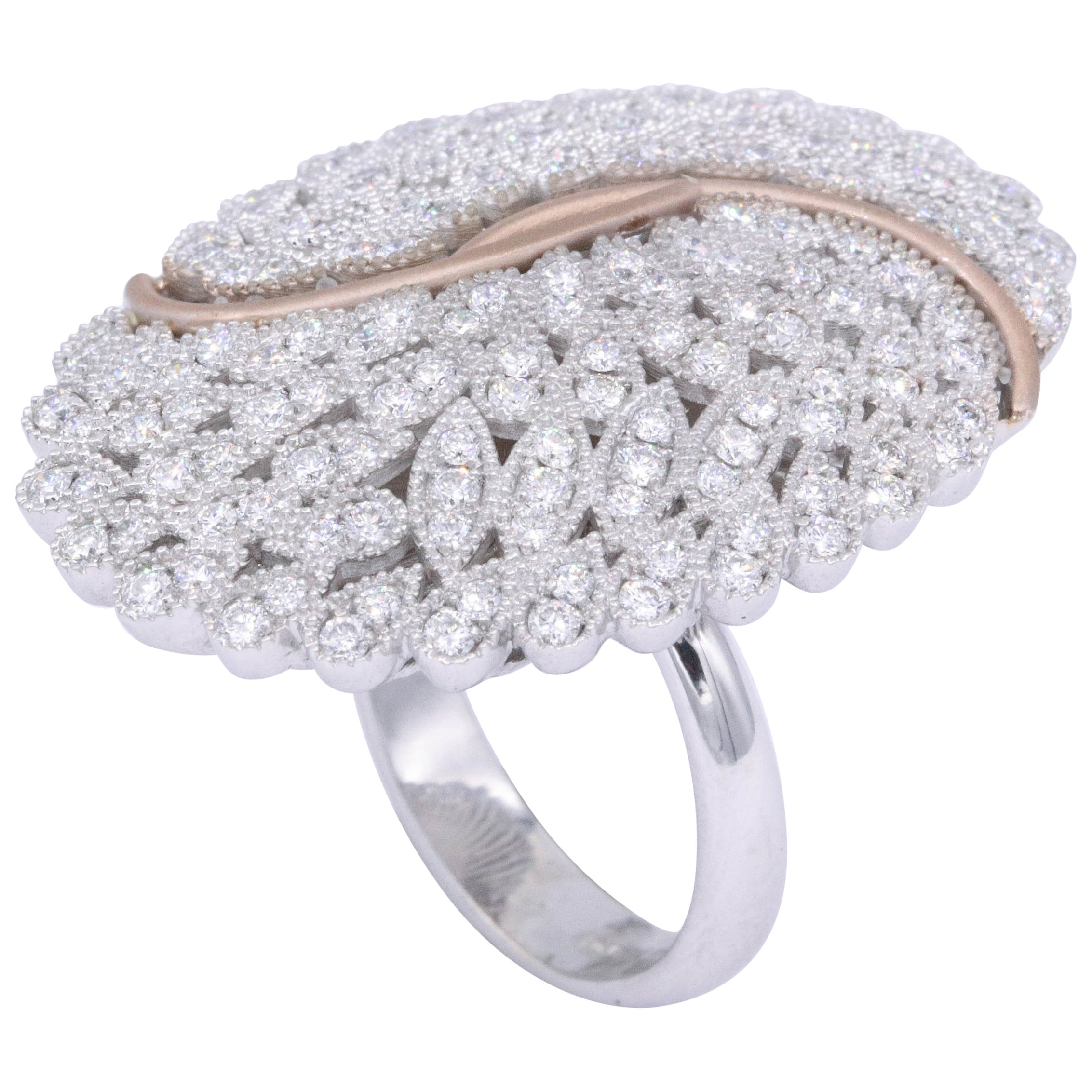Italian Cocktail Fashion Ring 2.02 Carats 18K White Gold