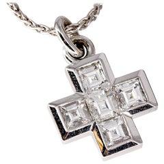 Bulgari Diamond and White Gold Cross Pendant with Chain