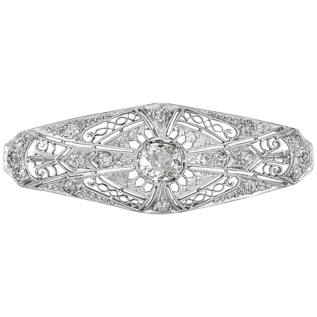 1.60 Carat Old Mine and Old European Cut Diamond Art Deco Style Pendant