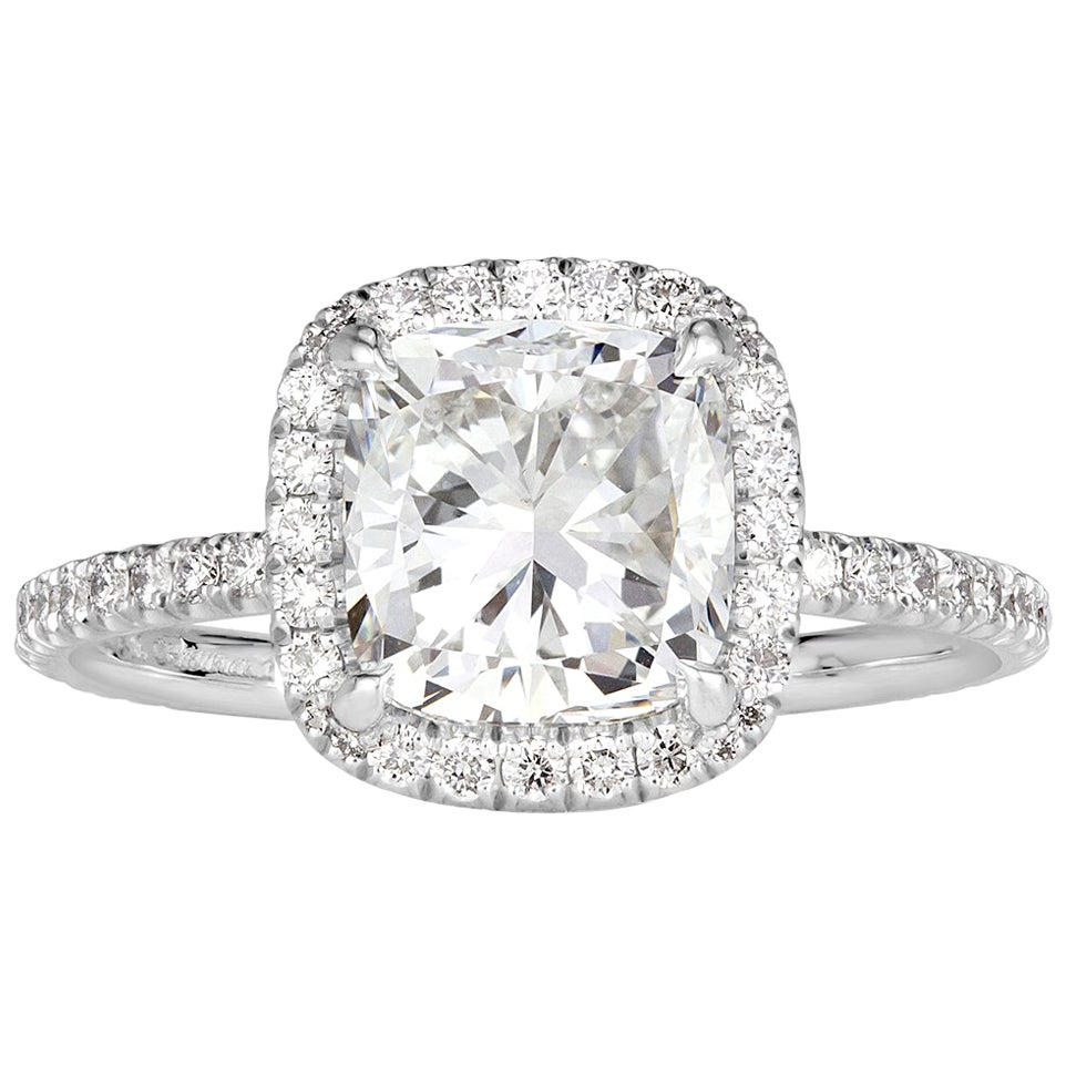 Mark Broumand 2.47 Carat Cushion Cut Diamond Engagement Ring