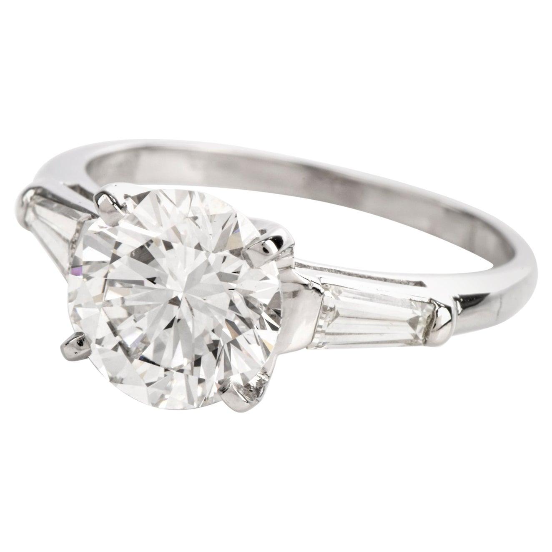 GIA 2.40 Carat Diamond F Color VS1 Clarity  Platinum Engagement Ring