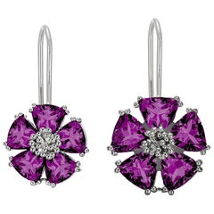 Amethyst Blossom Large Stone Mismatched Wire Earrings