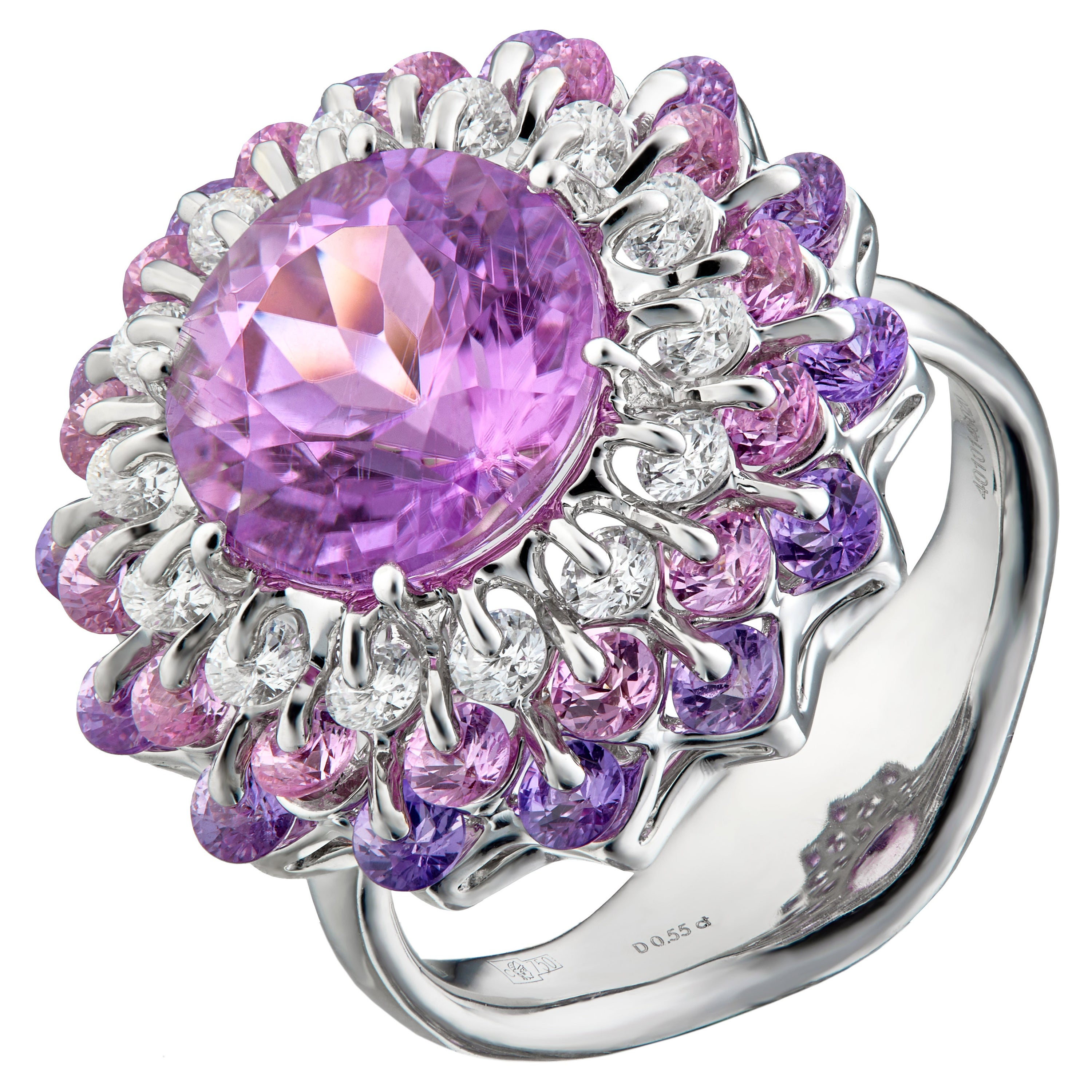 MOISEIKIN 18Karat White Gold 4ct Kunzite Diamond Sapphire Cocktail Ring