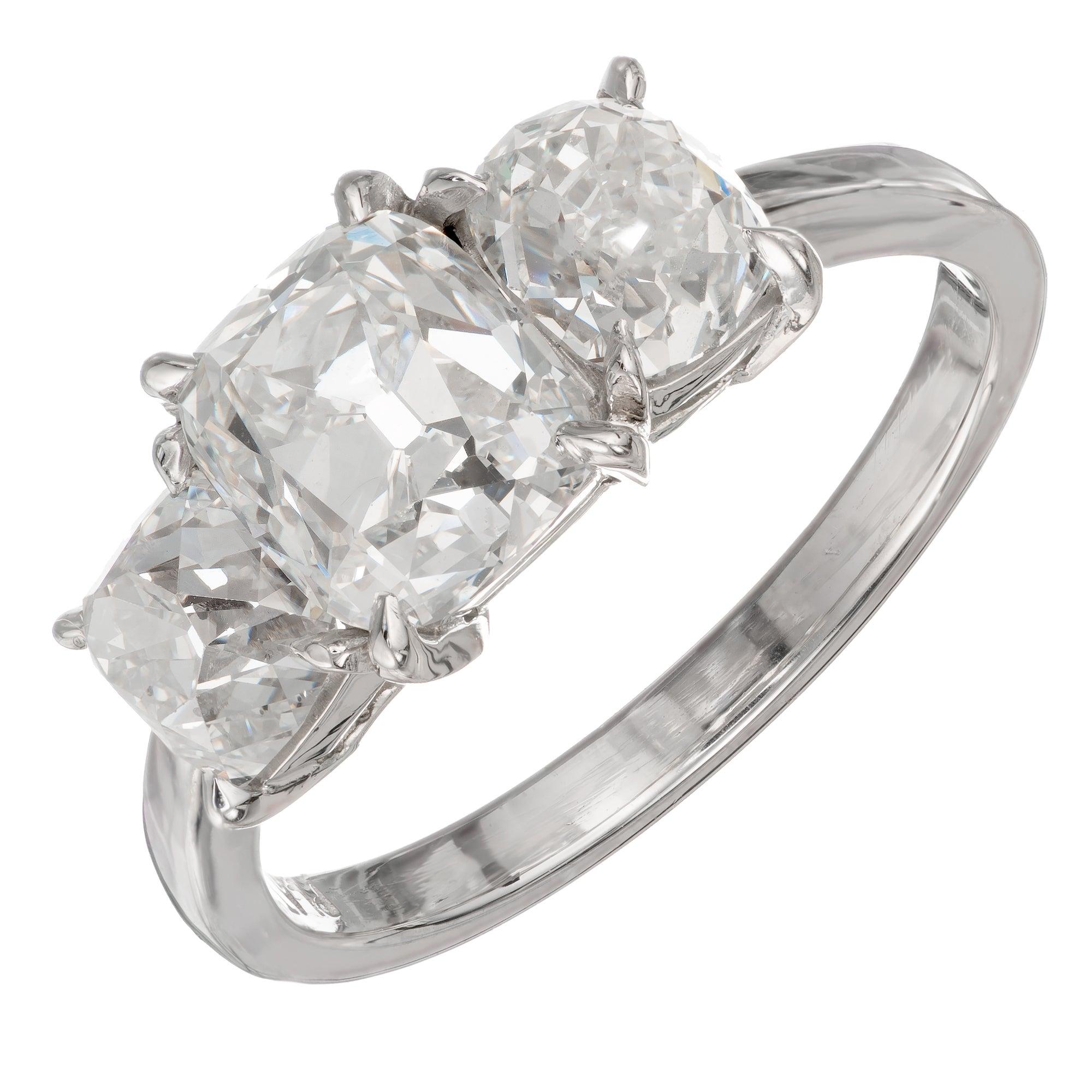 GIA Certified 2.87 Carat Diamond Three-Stone Platinum Ring