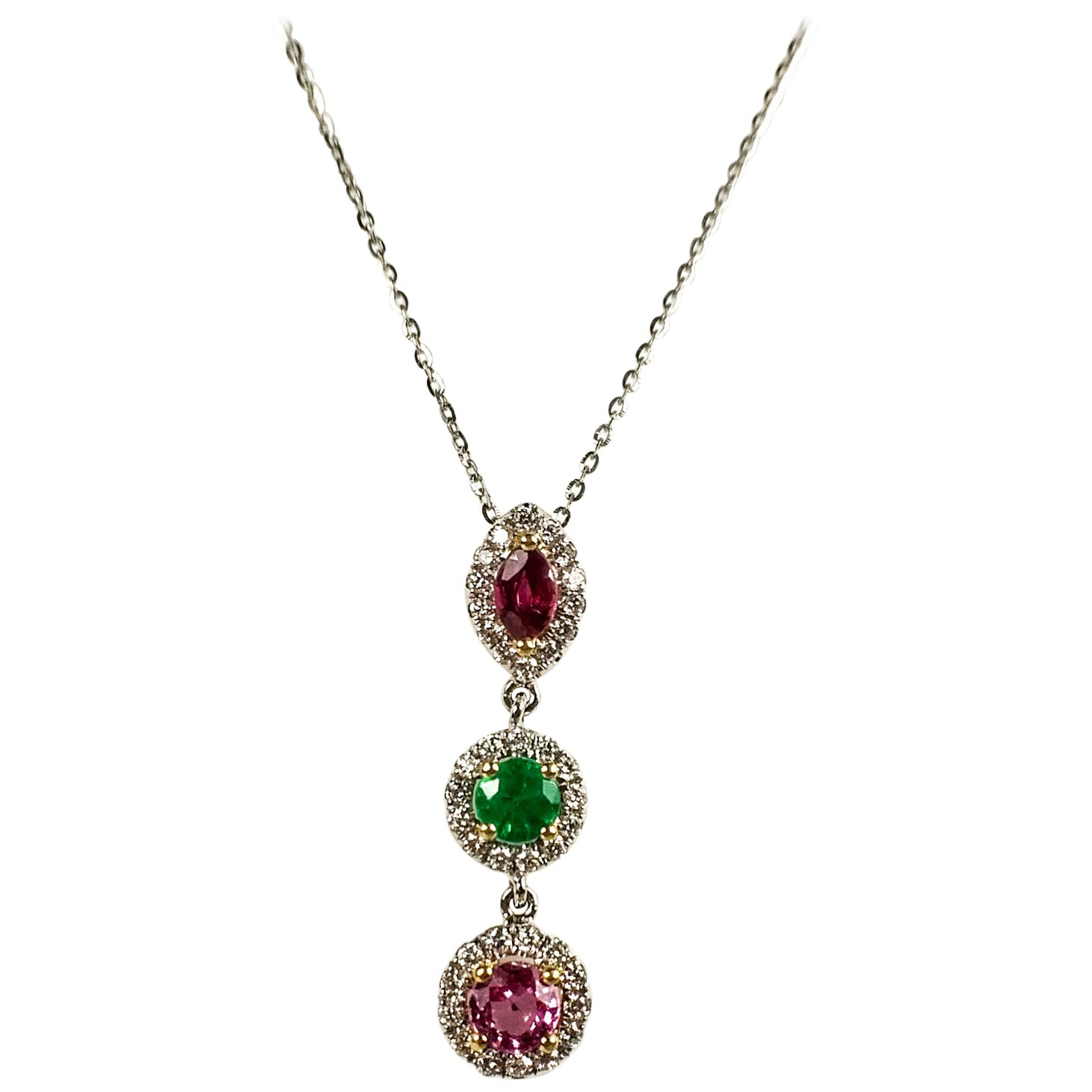 Multi-Color Gems Pendant Necklace