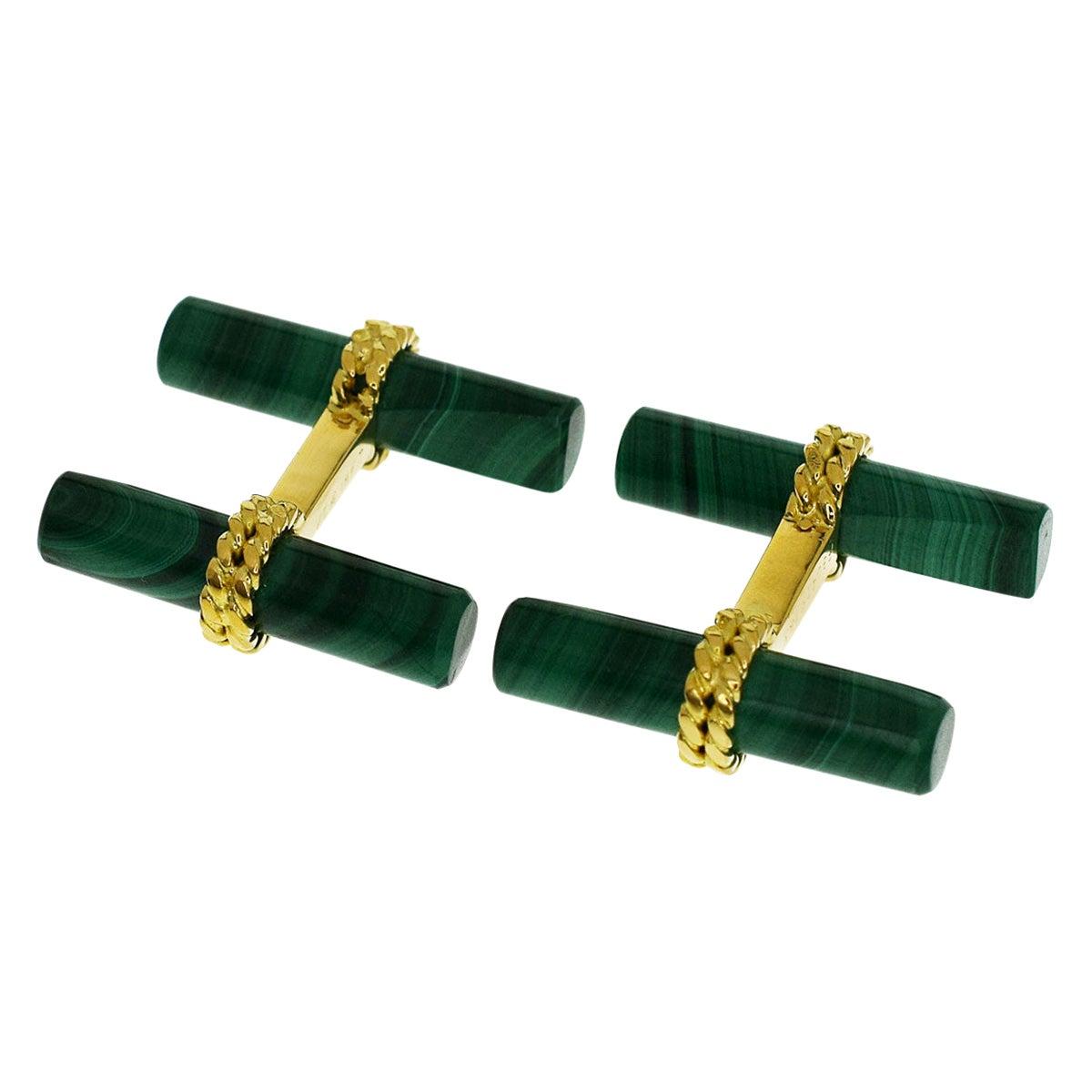 Van Cleef & Arpels 18 Karat Yellow Gold Malachite Cufflinks