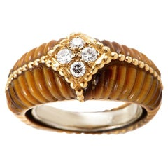 Van Cleef & Arpels Tiger's Eye Diamond Yellow Gold Band Ring