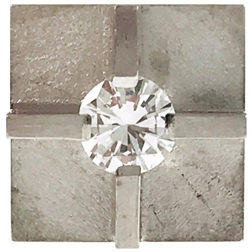 Platinum Diamond Cross Tie Tack