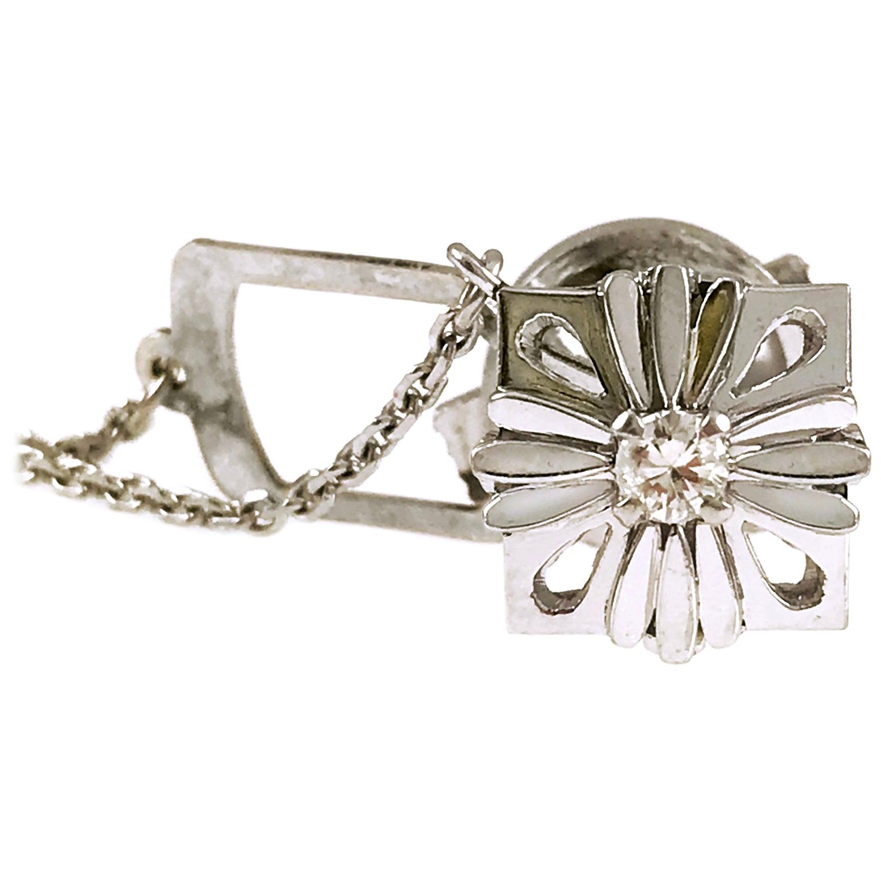 Platinum Diamond Tie Tack, Chain