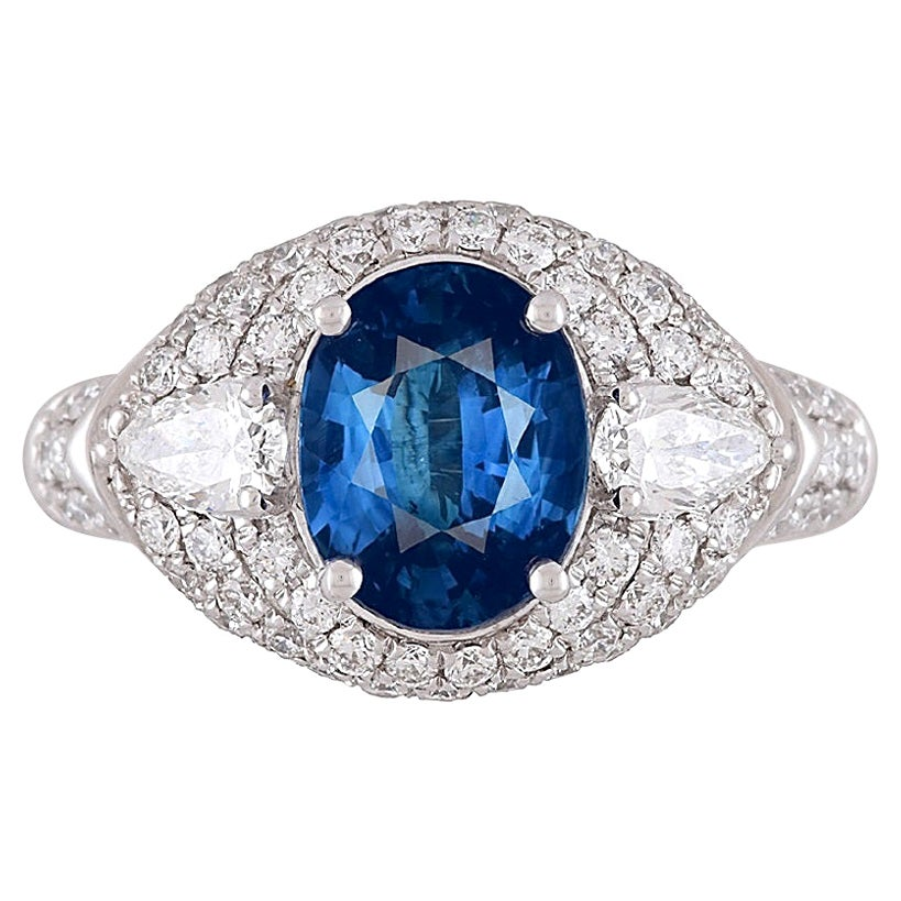 DiamondTown GIA Certified 3.04 Carat Oval Cut Ceylon Sapphire Ring