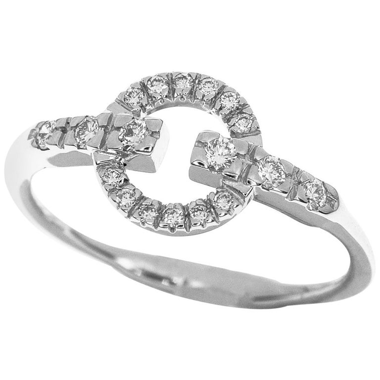 3c2a6ba6c7232 Gucci Diamond 18 Karat White Gold Logo Ring