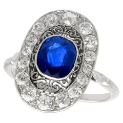 1940s 1.43 Carat Sapphire and Diamond Platinum Cocktail Ring