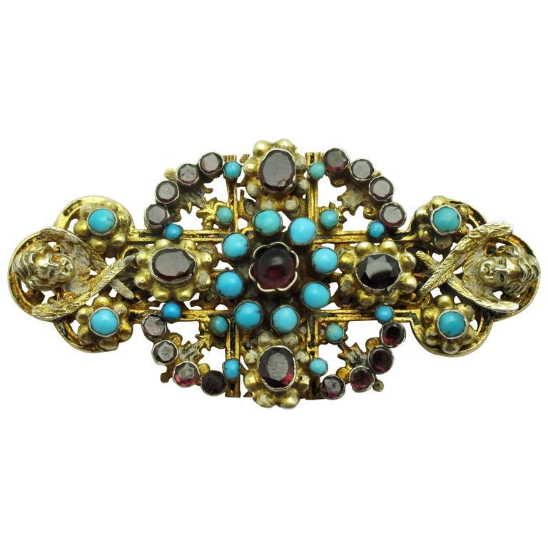 Austro-Hungarian Turquoise Garnet Gilt Silver Brooch