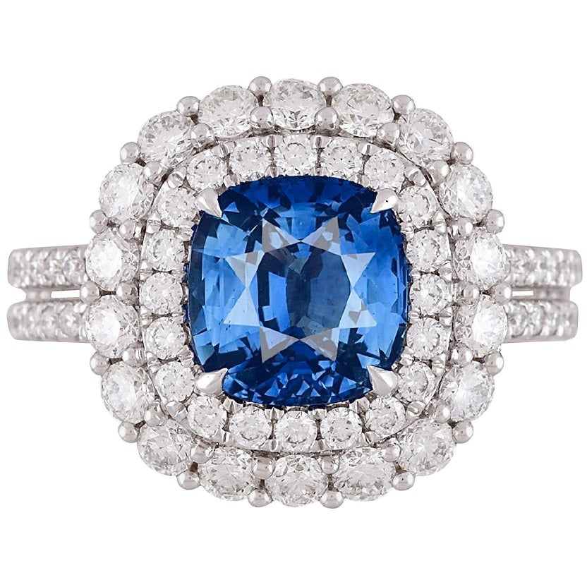DiamondTown GIA Certified 2.72 Carat Ceylon Sapphire and Diamond Ring
