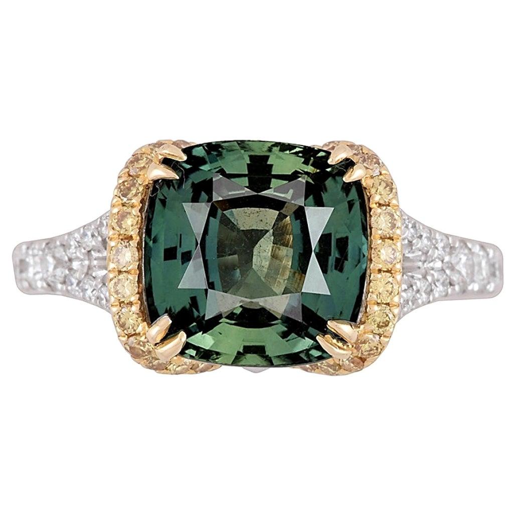 DiamondTown GIA Certified 4.50 Carat Cushion Cut Forest Green Sapphire Ring
