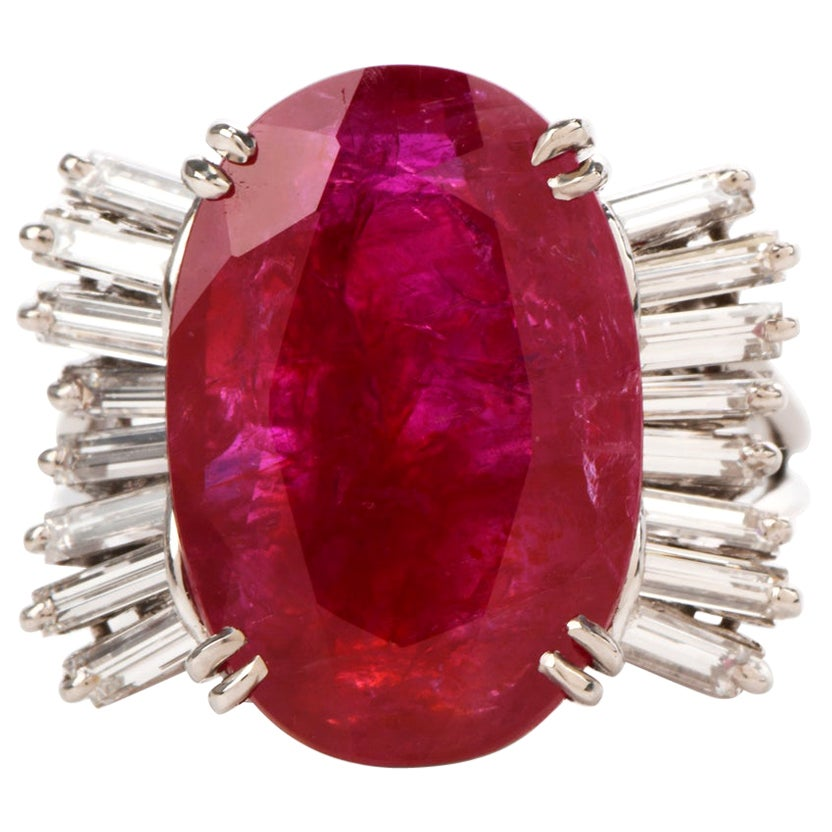 GIA Natural No Heat Ruby Diamond Platinum Cocktail Ring