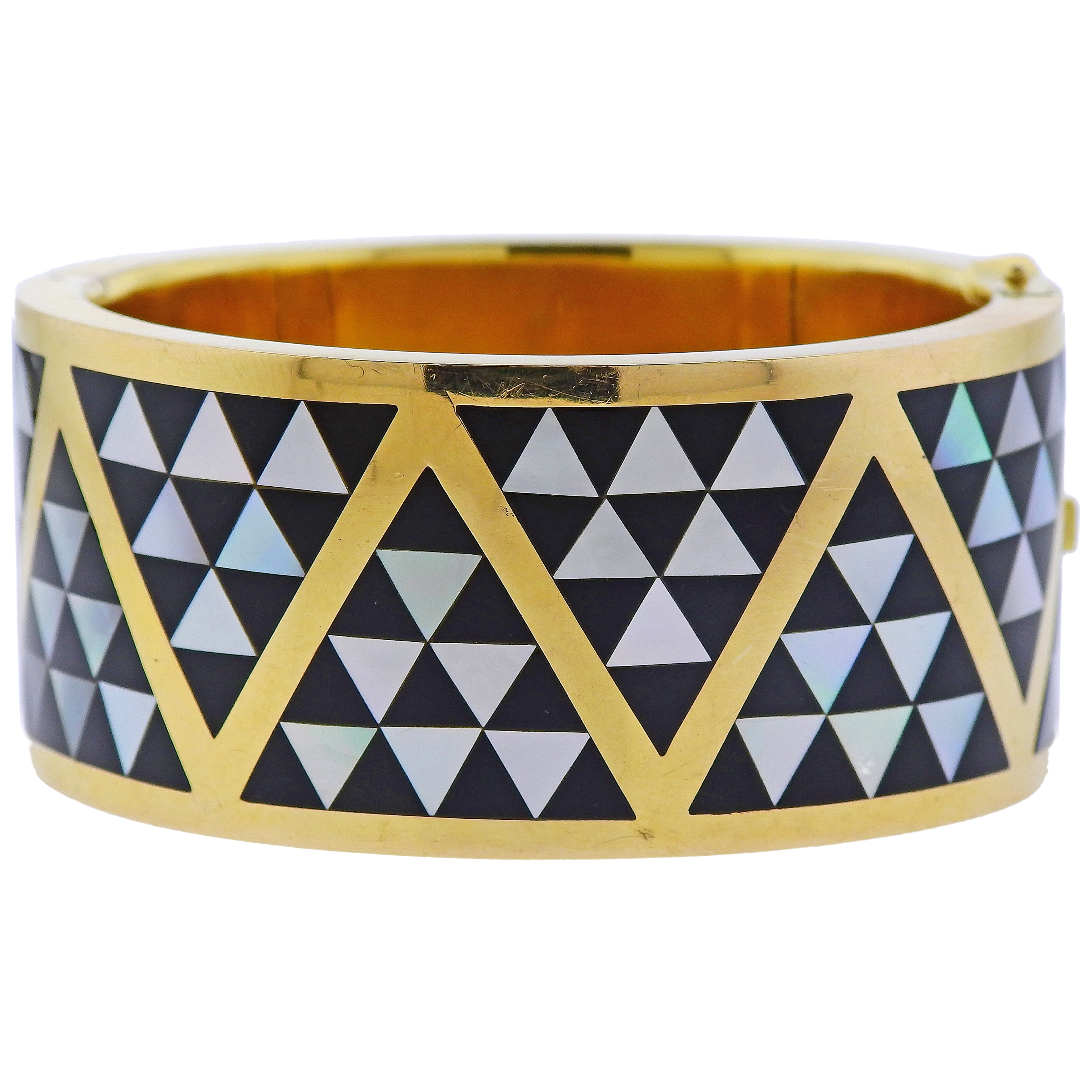 Asch Grossbardt Inlay Mother of Pearl Onyx Gold Bangle Bracelet