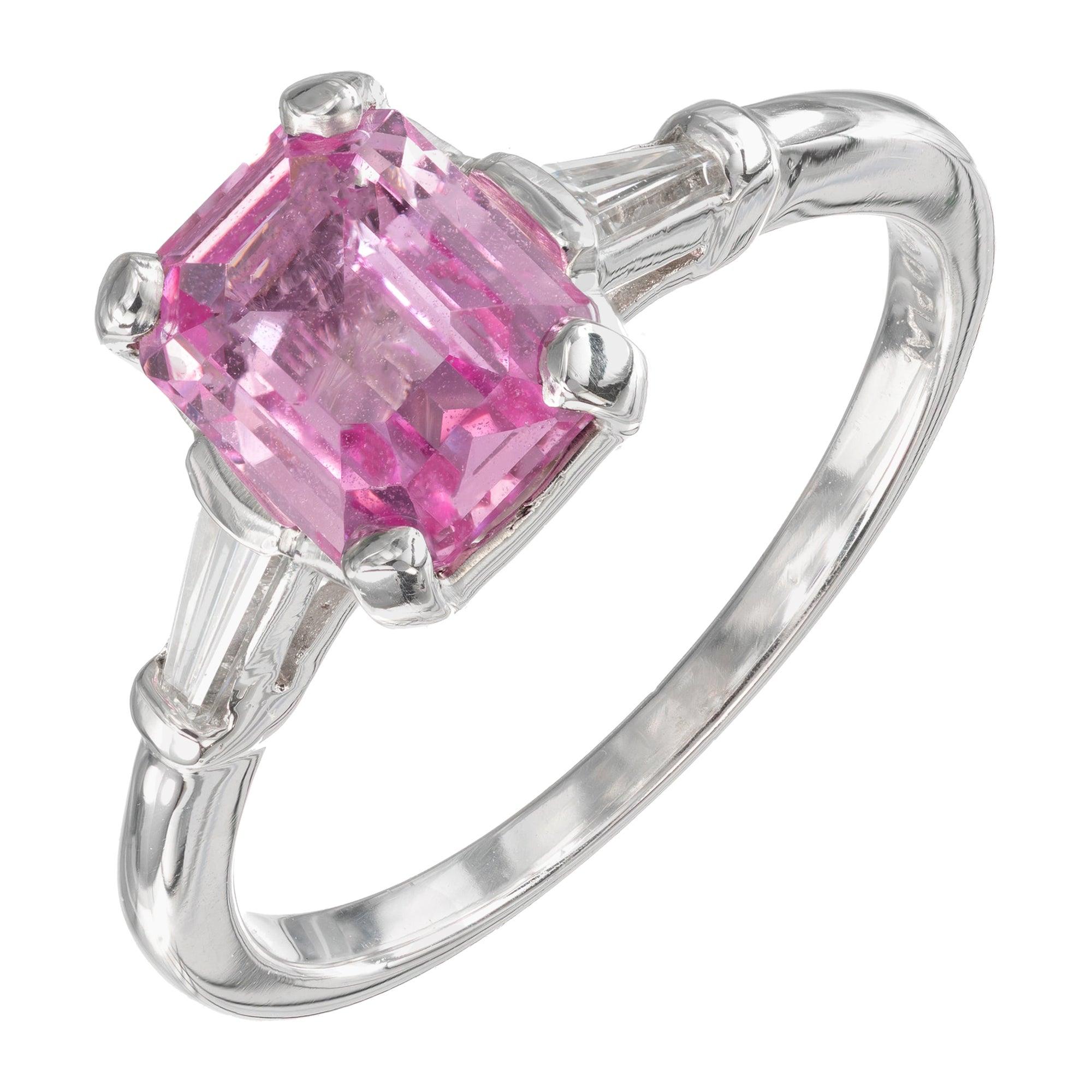 GIA Certified 1.82 Carat Pink Sapphire Diamond Platinum Engagement Ring