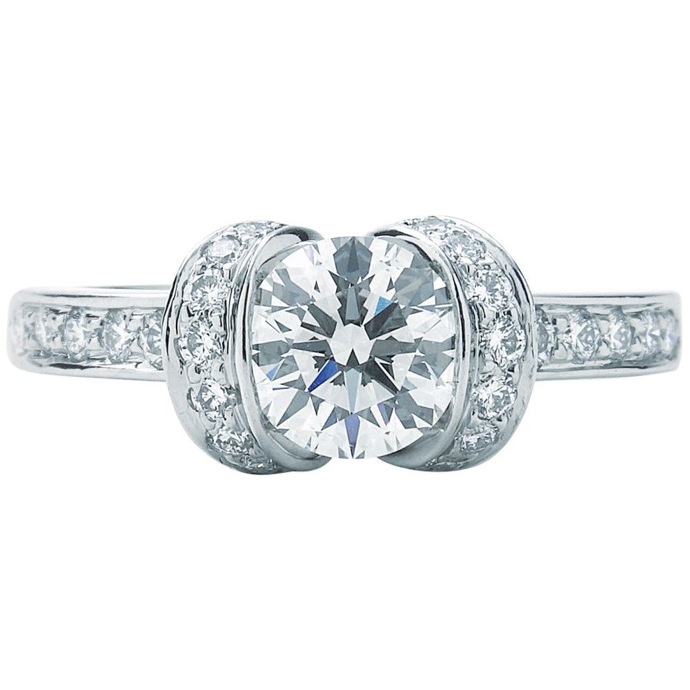 Tiffany & Co. Ribbon Engagement Ring .82 Carat Center IVS1