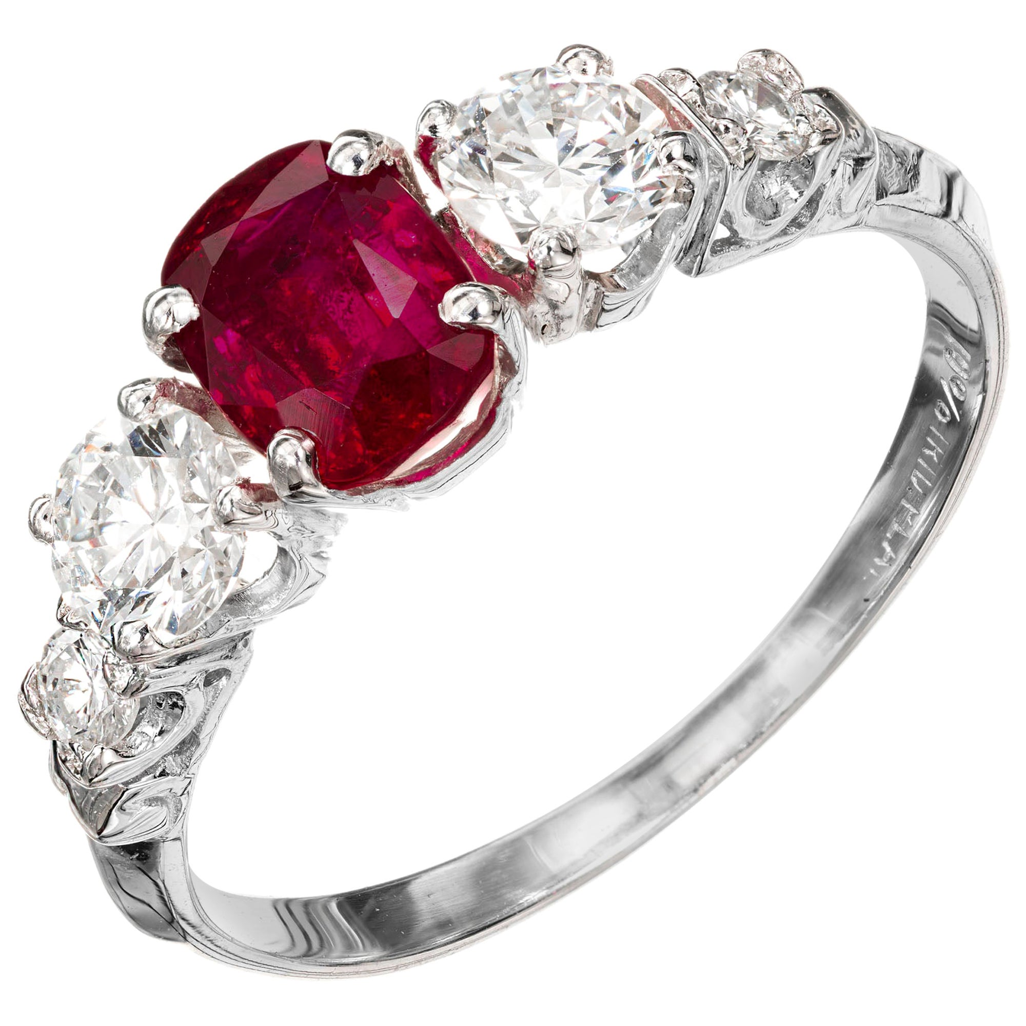 1.02 Carat Ruby Diamond Platinum Three-Stone Engagement Ring