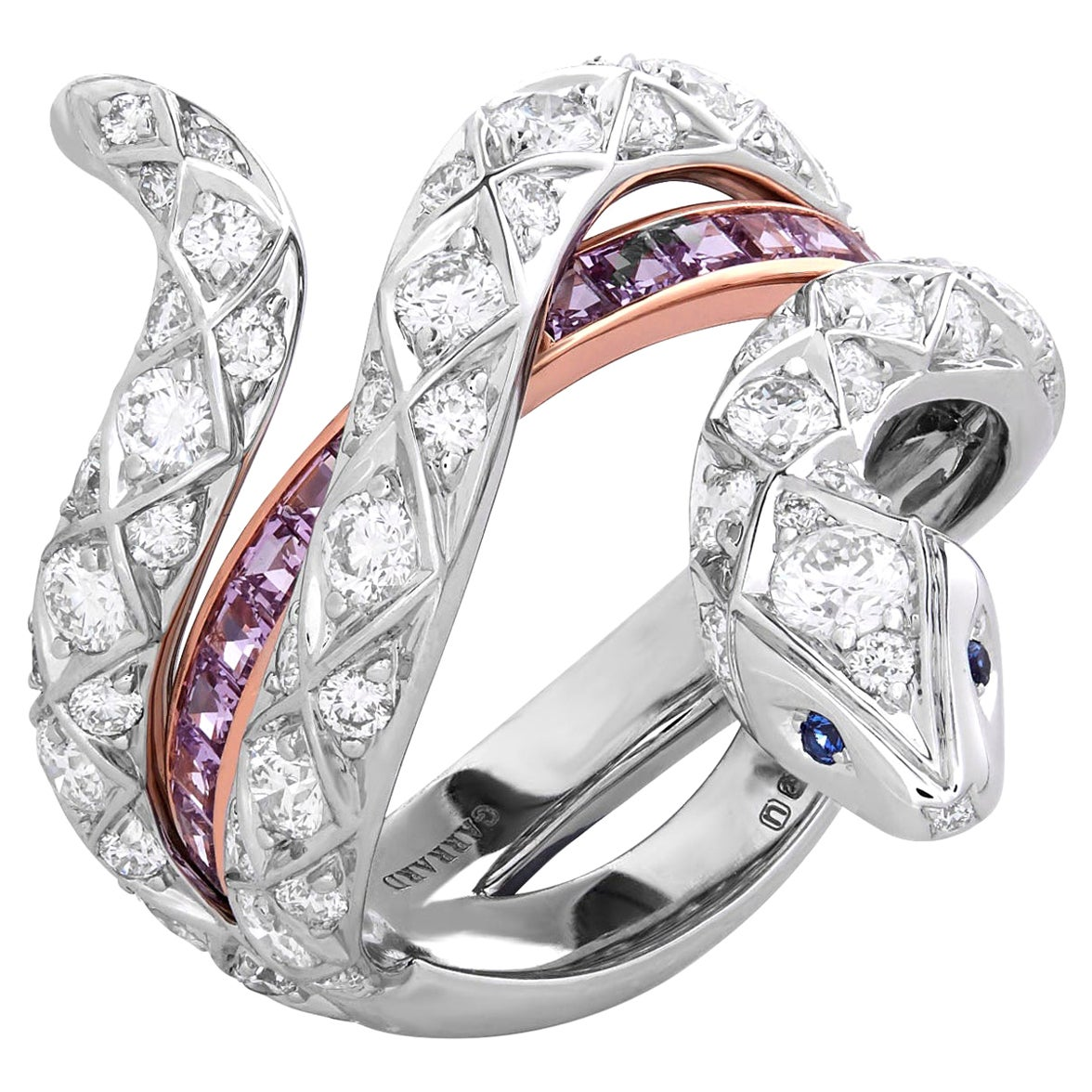 Garrard 'Muse' Serpent 18 Karat White Gold Diamond and Purple Sapphire Ring