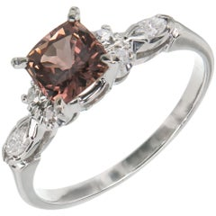 GIA Certified 1.30 Carat Brown Pink Sapphire Diamond Gold Engagement Ring