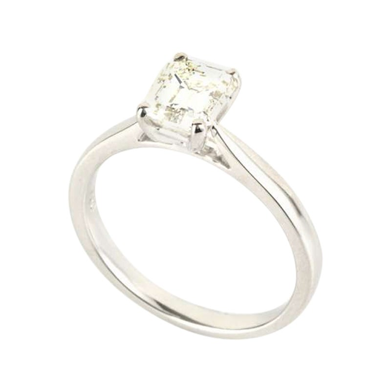 GIA Certified Emerald Cut Diamond Solitaire Engagement Ring 1.25 Carat