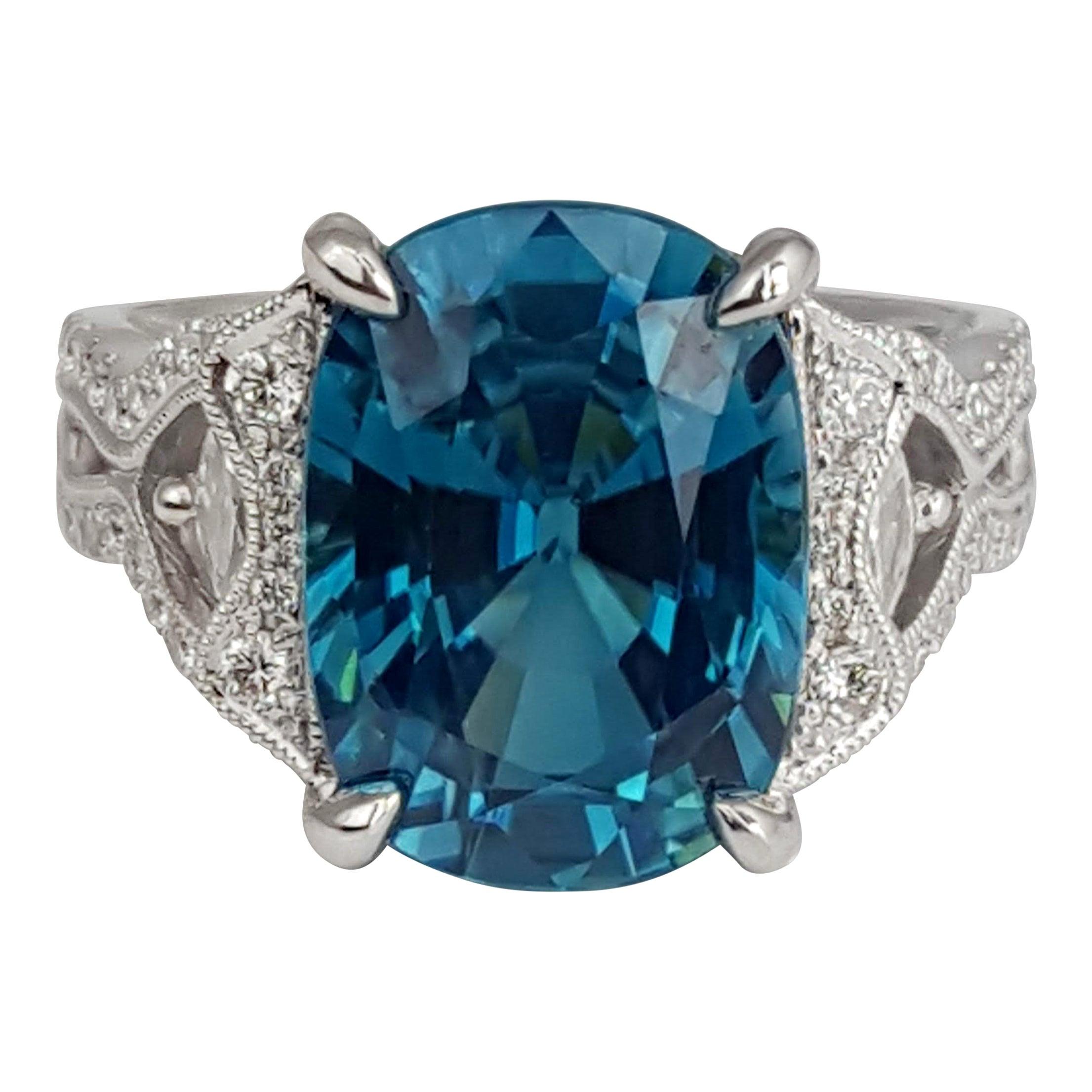 DiamondTown 9.98 Carat Oval Cut Blue Zircon and 0.54 Carat Diamond Ring