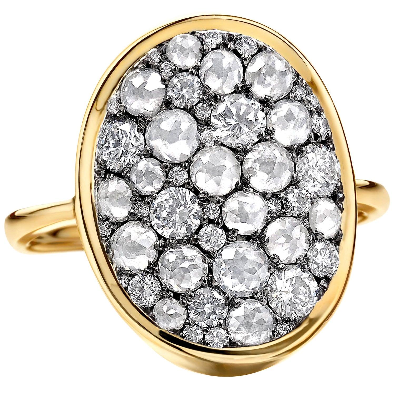 Joke Quick Brilliant-Cut and Tambuli Rose-Cut White Diamond Gold Starstruck Ring