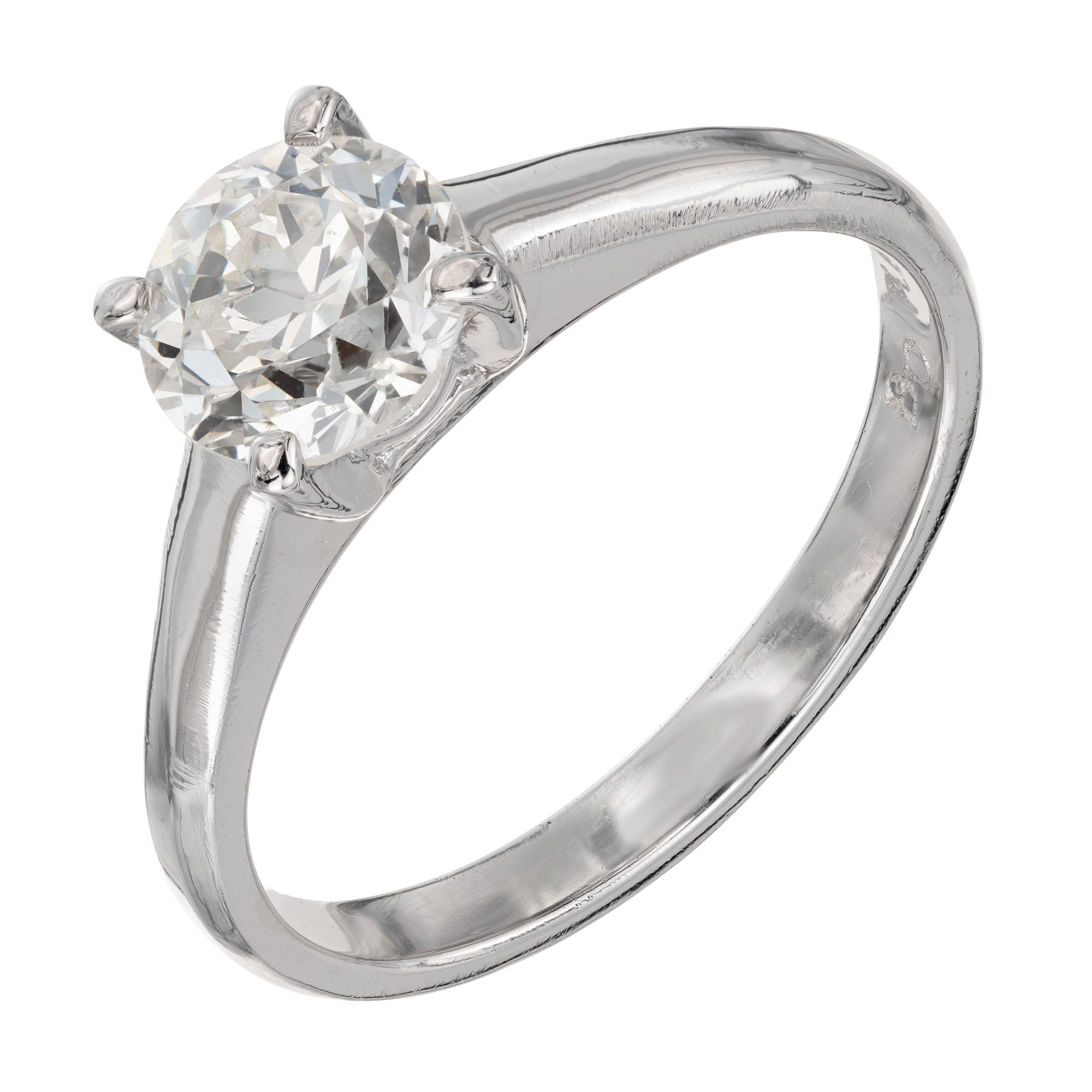 GIA Certified .99 Carat Diamond Platinum Solitaire Engagement Ring