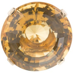 20.00 Carat Round Citrine Yellow Gold Large Cocktail Ring