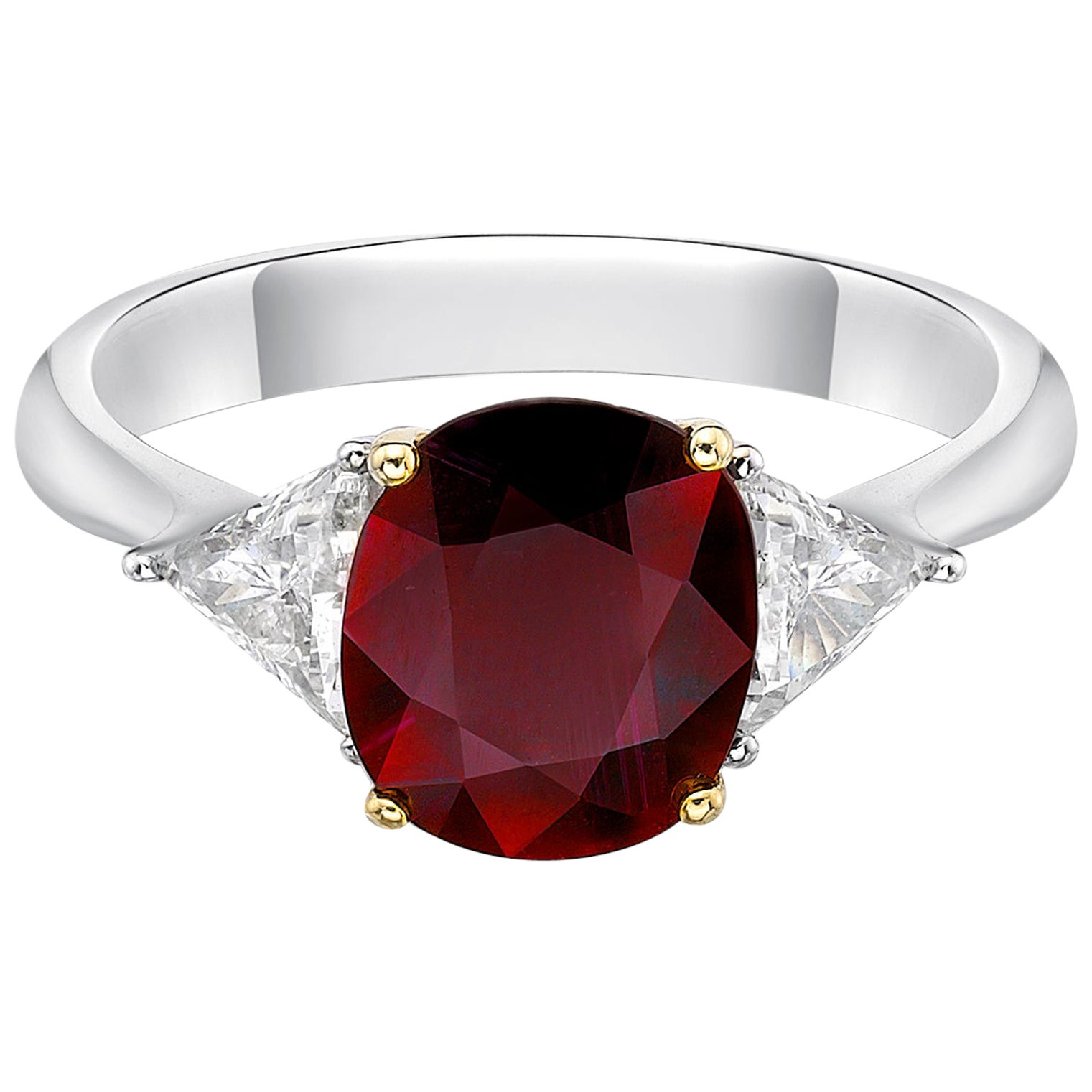 2.08 Carat Vivid Red Ruby GIA Certified Unheated Diamond Ring Cushion Cut
