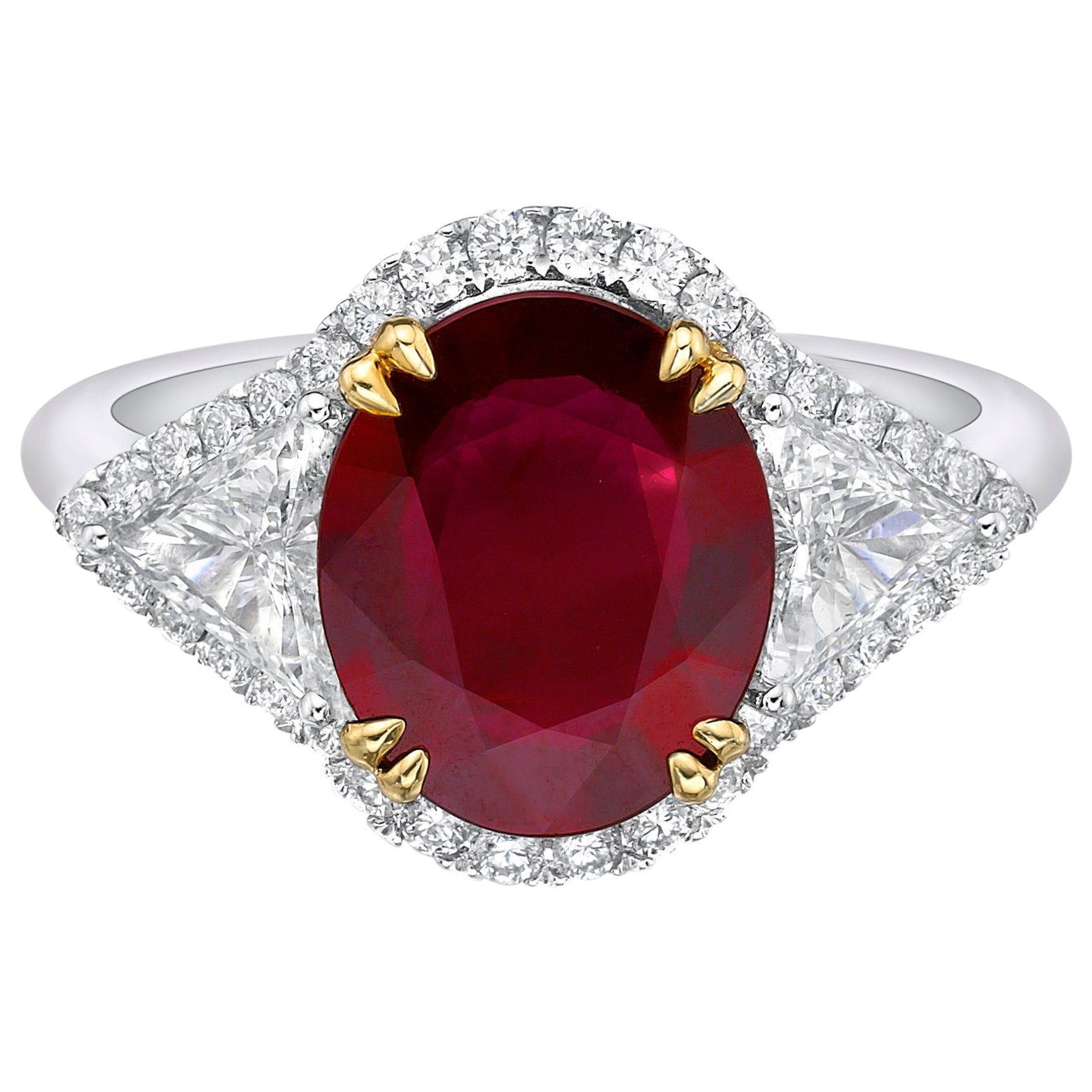 2.66 Carat Vivid Red Ruby GRS Certified Unheated Diamond Ring Oval Cut
