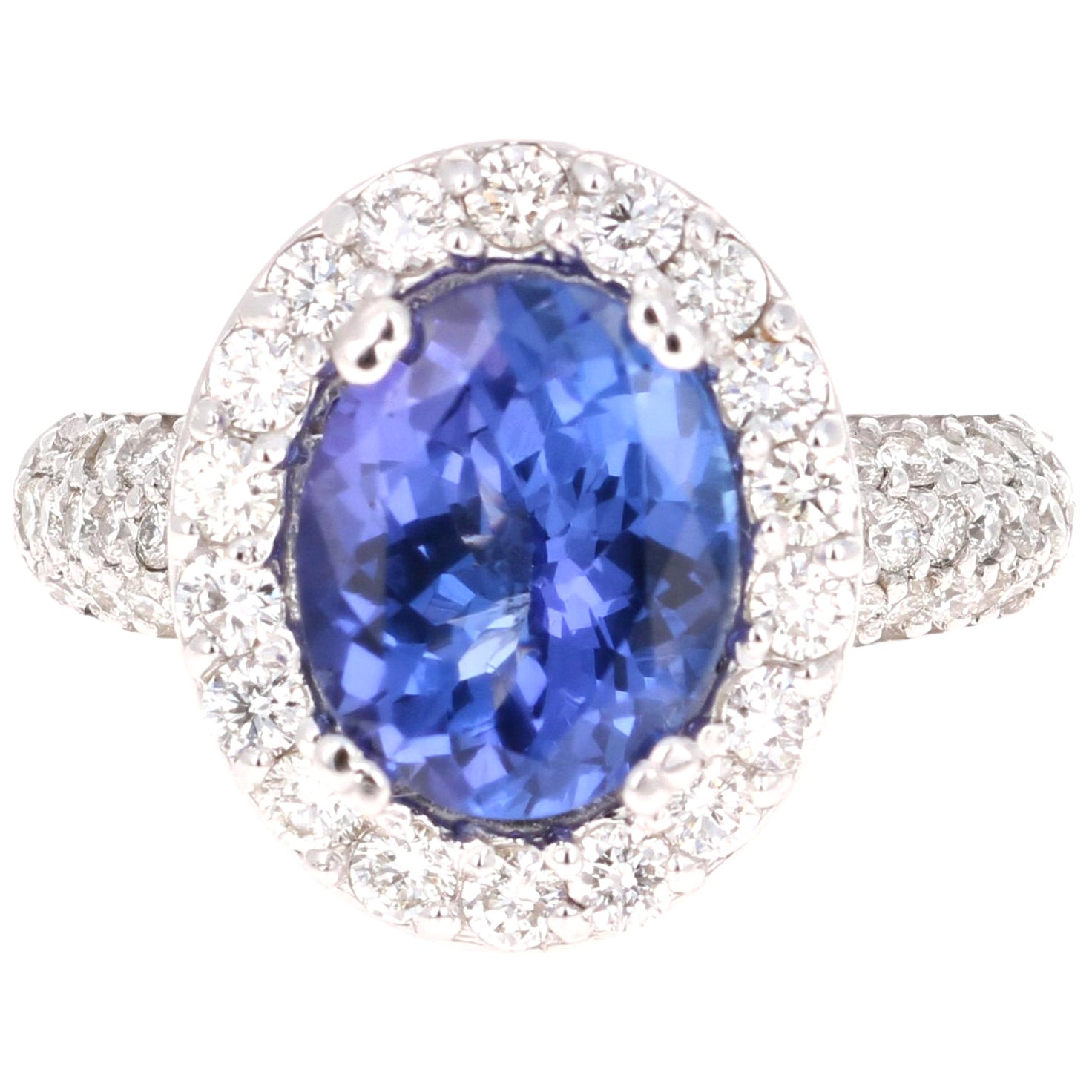 4.34 Carat Tanzanite Diamond 14 Karat White Gold Ring