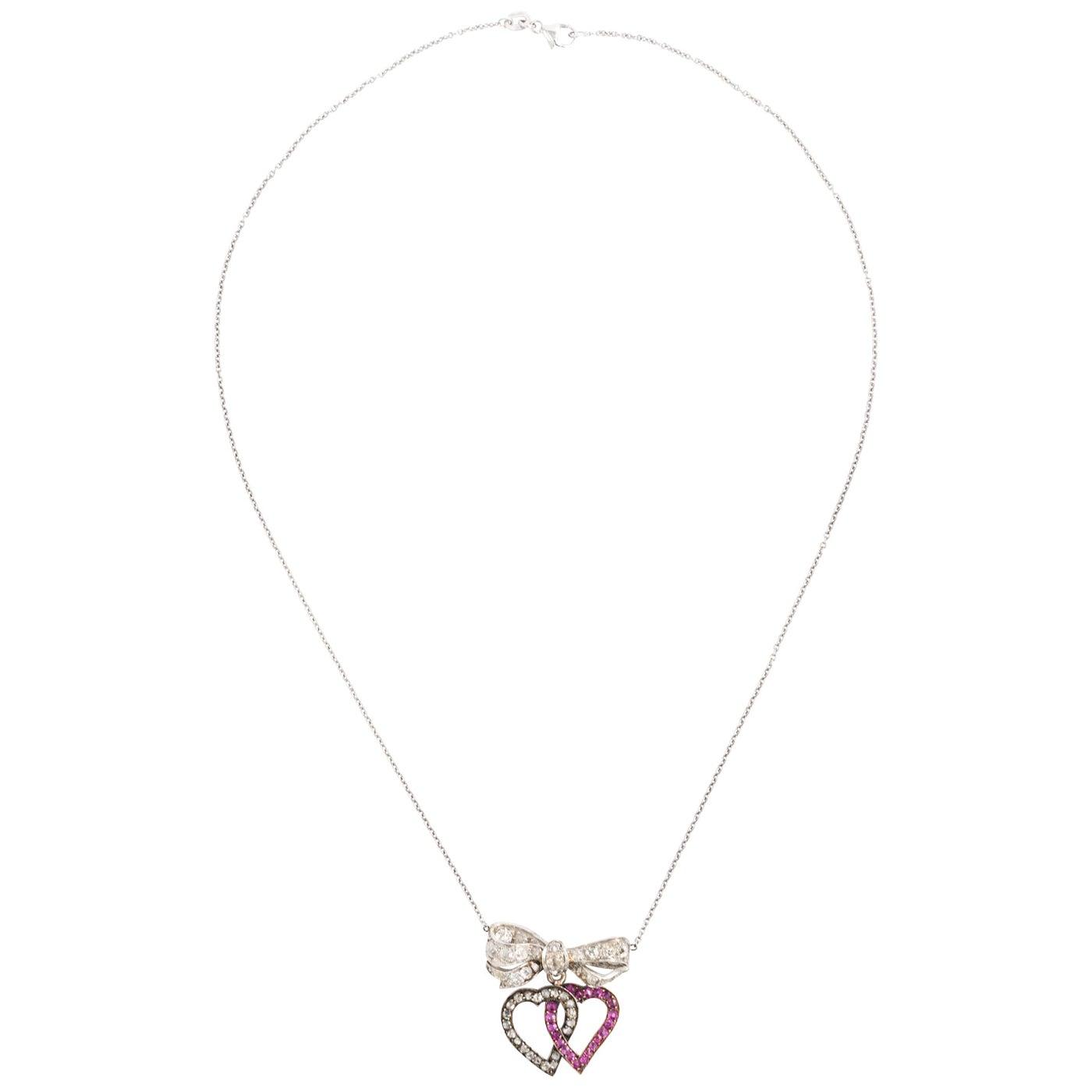 Platinum Ruby Diamond Double Heart Pendant Necklace