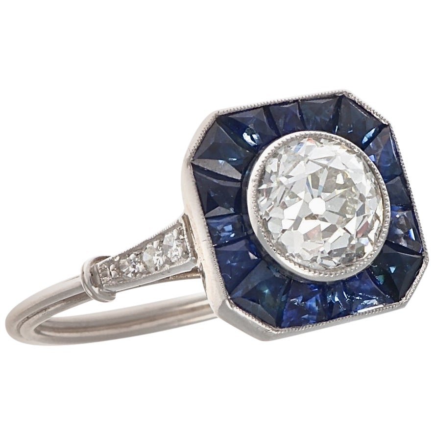 Art Deco Style 1.37 Carat Diamond Sapphire Platinum Engagement Ring