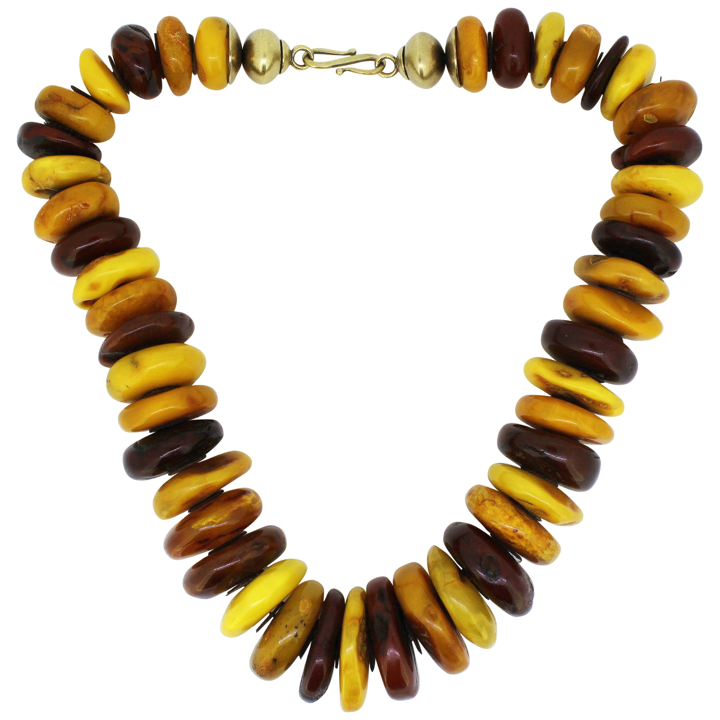 Natural Baltic Amber Necklace in the Form of Tablets