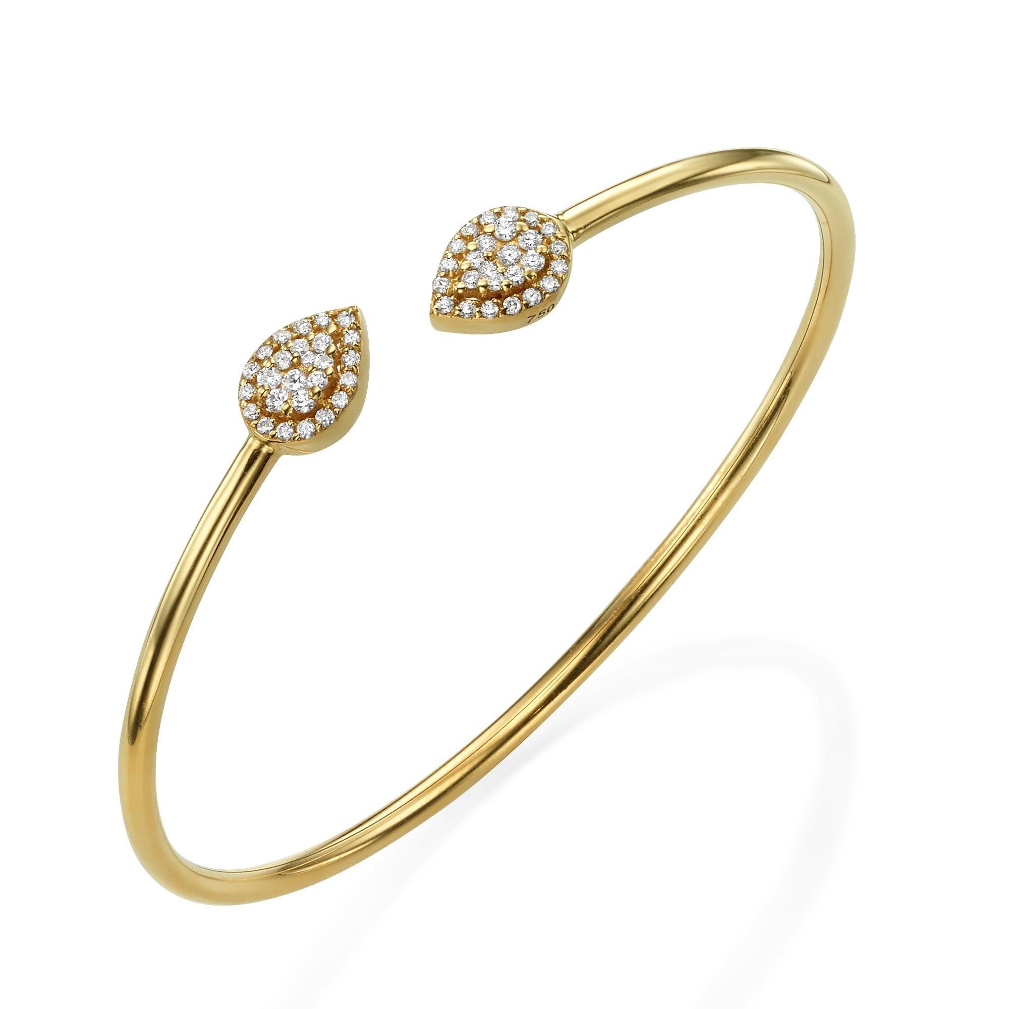 0.3 Carat Diamond Bangle, Pear Shape Bracelet, 18K Gold Bracelet, Diamond Bangle