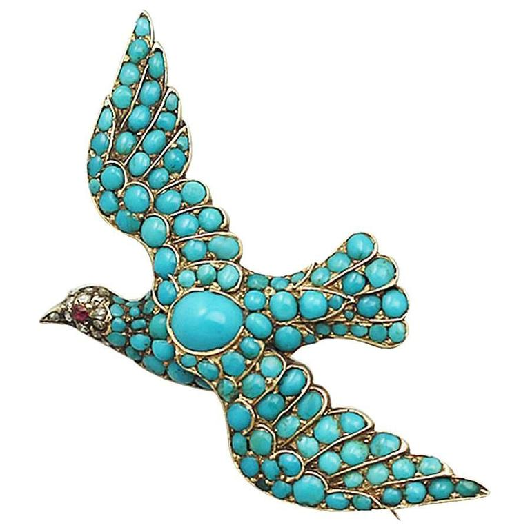 Antique Turquoise Diamond Gold Dove Brooch  1