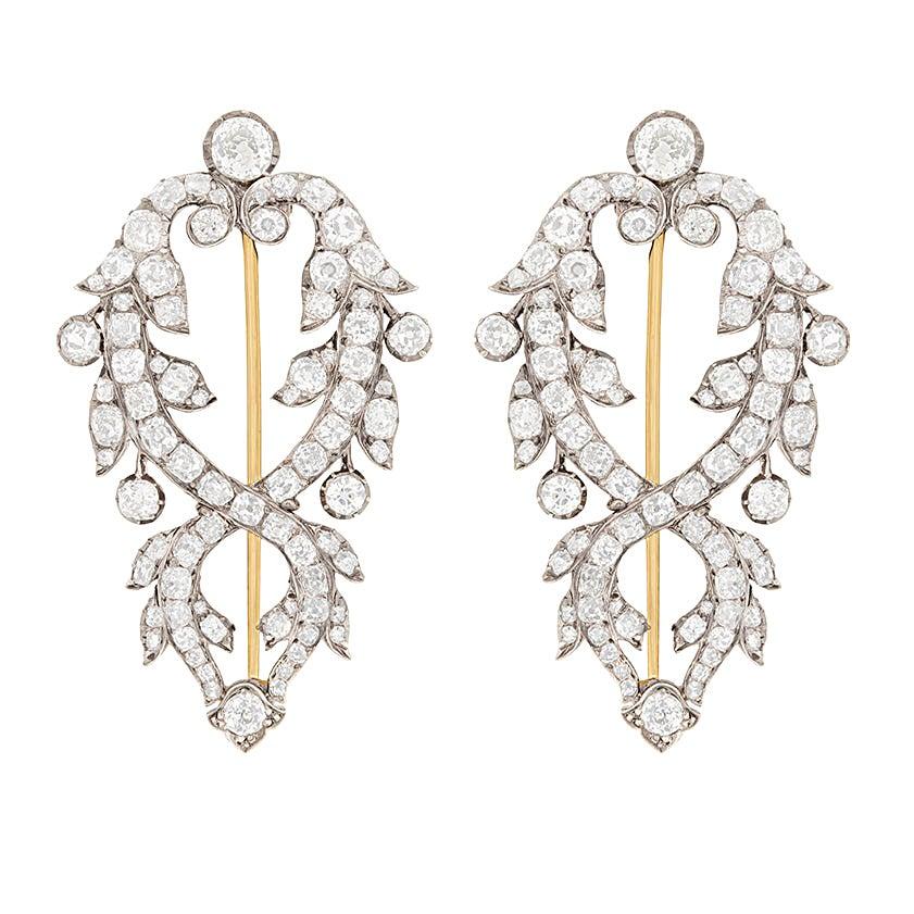 Victorian Diamond Double Clip Brooches, circa 1800s